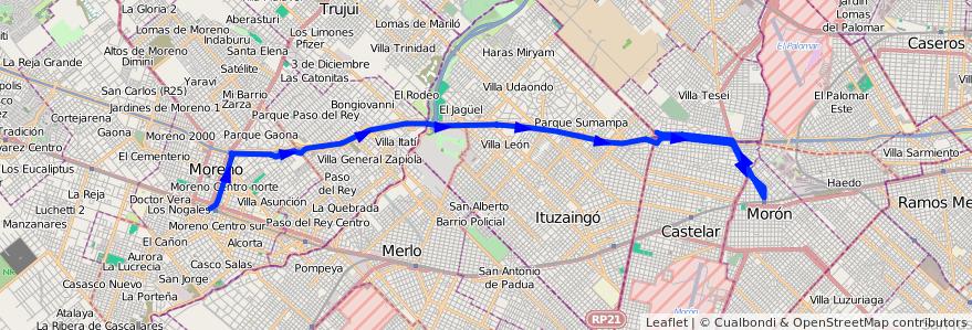 Mapa del recorrido Est.Moreno-Est.Moron de la línea 302 en Buenos Aires.