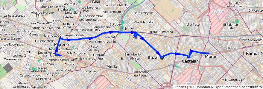 Mapa del recorrido Est.Moron-Est.Moreno de la línea 269 en Buenos Aires.