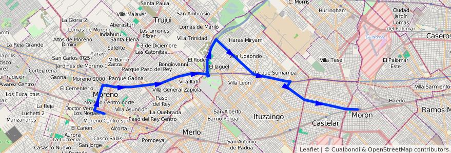Mapa del recorrido Est.Moron-Las Catonas de la línea 269 en Buenos Aires.