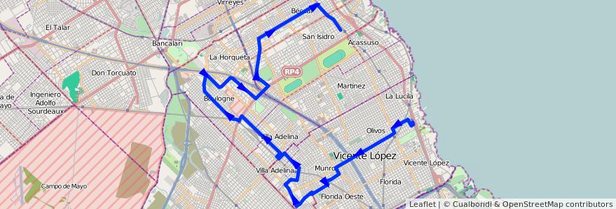 Mapa del recorrido Est.San Isidro-Olivos de la línea 333 en Buenos Aires.