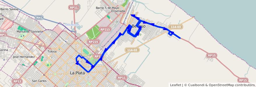Mapa del recorrido Ex60 de la línea 202 en Buenos Aires.
