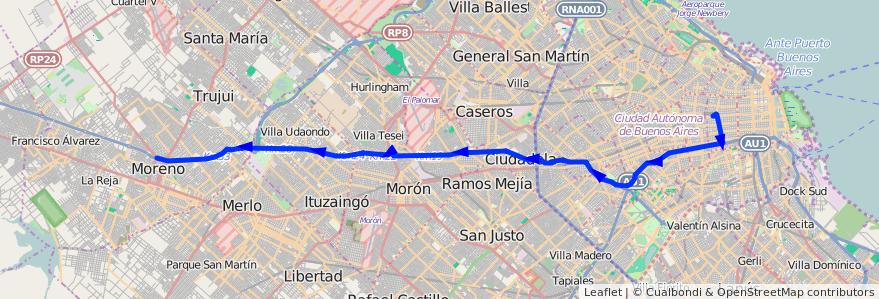 Mapa del recorrido Expreso Once Moreno de la línea 57 en Argentina.