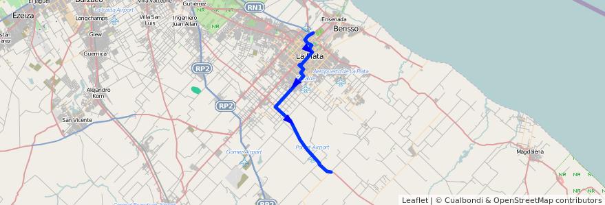 Mapa del recorrido F de la línea 307 en Partido de La Plata.