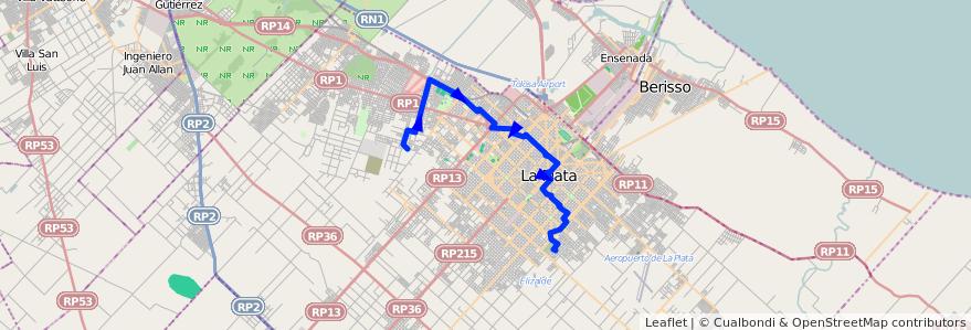 Mapa del recorrido F de la línea 273 en Partido de La Plata.