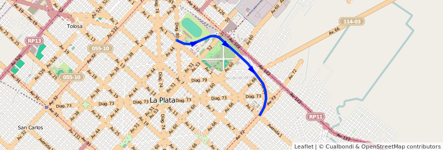 Mapa del recorrido Facultades de la línea Tren Universitario en La Plata.