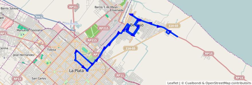 Mapa del recorrido Fx1 de la línea 202 en Buenos Aires.