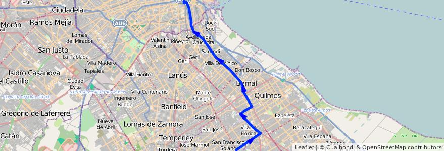 Mapa del recorrido G Constitucion-Solano de la línea 148 en Buenos Aires.