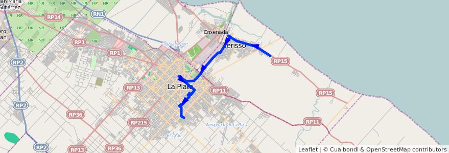 Mapa del recorrido G de la línea 202 en Buenos Aires.