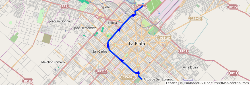 Mapa del recorrido G de la línea 307 en Partido de La Plata.