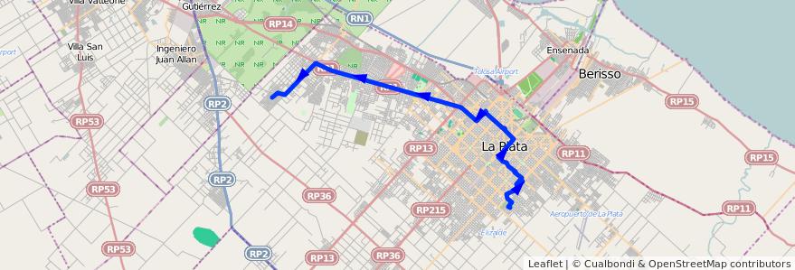 Mapa del recorrido G de la línea 273 en Partido de La Plata.