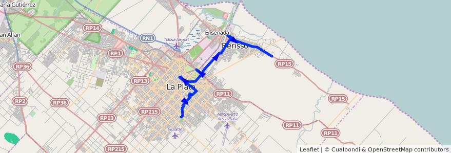 Mapa del recorrido G por Facultades de la línea 202 en Buenos Aires.