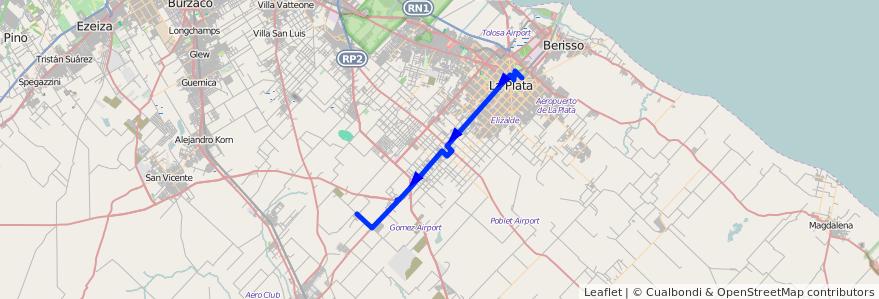 Mapa del recorrido Gomez de la línea 225 en Partido de La Plata.