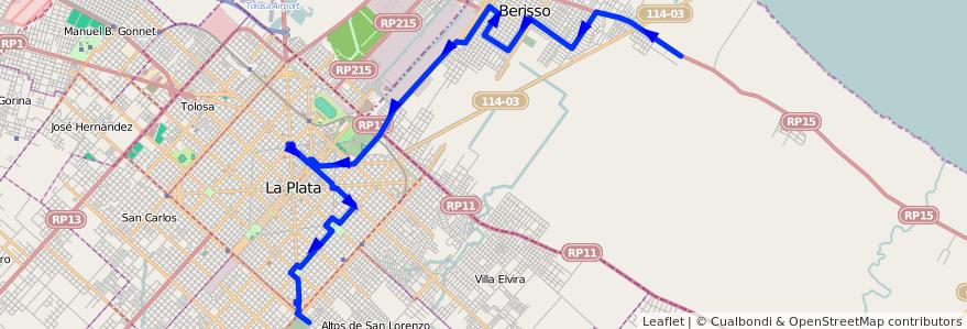 Mapa del recorrido H de la línea 202 en Buenos Aires.