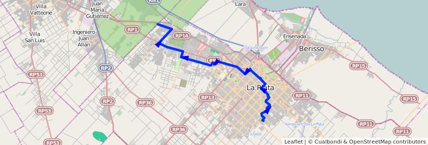 Mapa del recorrido H de la línea 273 en Partido de La Plata.