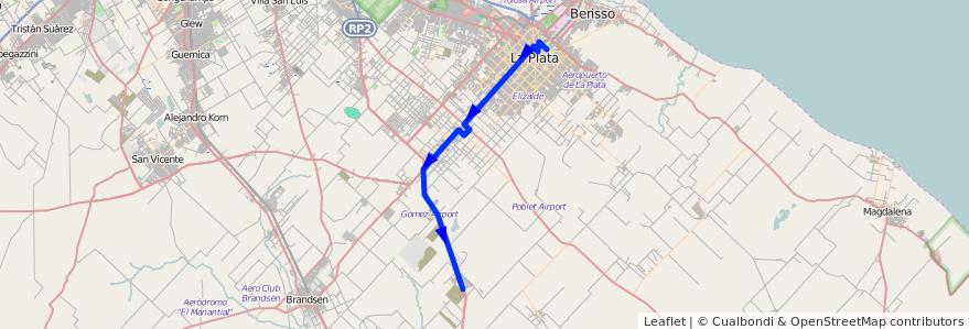Mapa del recorrido Haras del Sur II de la línea 225 en Partido de La Plata.