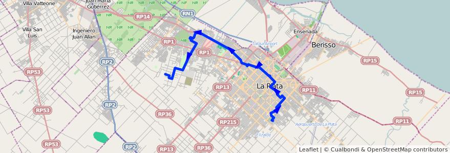 Mapa del recorrido I de la línea 273 en Partido de La Plata.