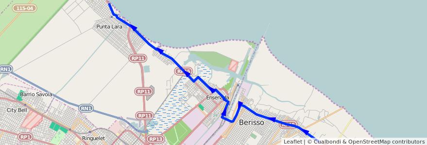 Mapa del recorrido I de la línea 202 en Buenos Aires.