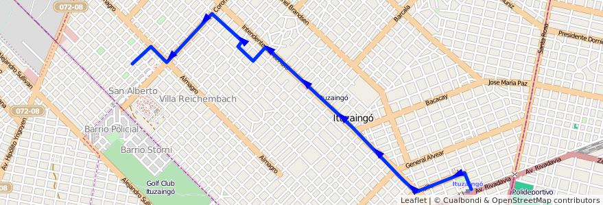 Mapa del recorrido Ituzaingo-San Alberto de la línea 441 en Ituzaingó.
