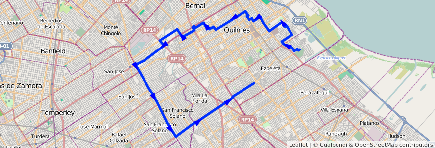 Mapa del recorrido L Ezpeleta-Pasco de la línea 257 en Partido de Quilmes.