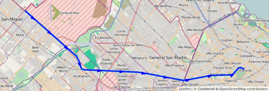 Mapa del recorrido Lacroze-Lemos de la línea Ferrocarril General Urquiza en Argentina.