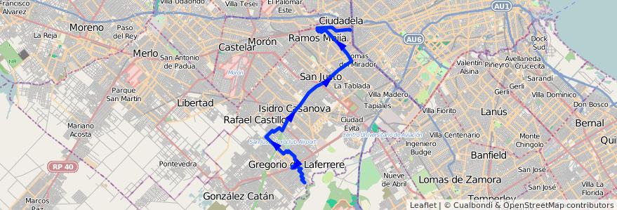 Mapa del recorrido Liniers-B.Don Juan de la línea 325 en Partido de La Matanza.
