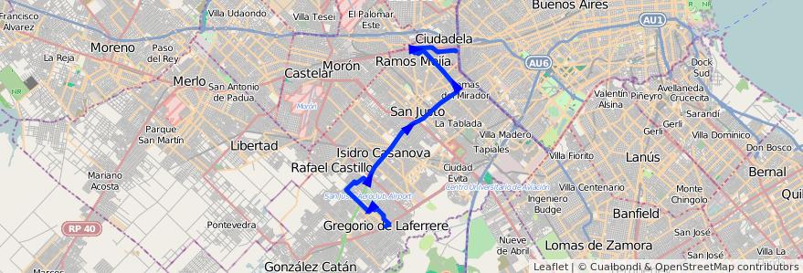 Mapa del recorrido Liniers-Laferrere de la línea 325 en Partido de La Matanza.