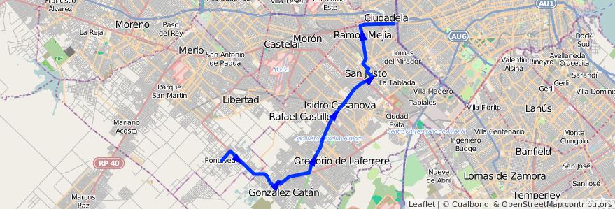 Mapa del recorrido Liniers-Pontevedra de la línea 205 en Buenos Aires.