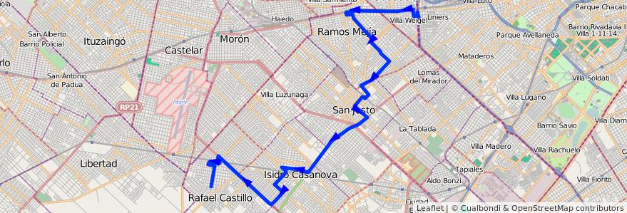 Mapa del recorrido Liniers-R.Castillo de la línea 378 en Partido de La Matanza.