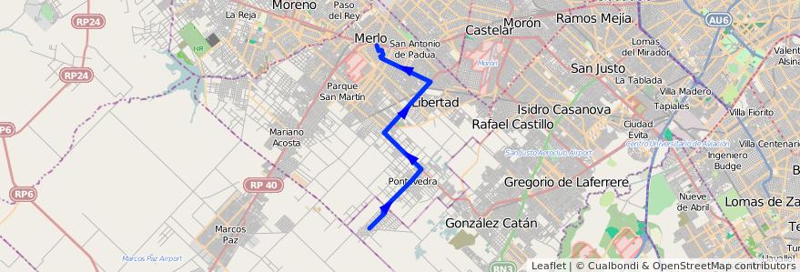 Mapa del recorrido Merlo-B. 20 de Junio de la línea 297 en Partido de Merlo.