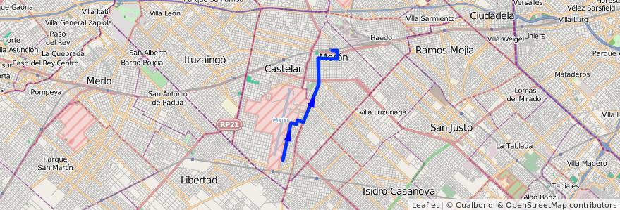 Mapa del recorrido Moron-Achaga de la línea 236 en Partido de Morón.