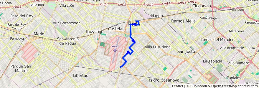 Mapa del recorrido Moron-Belgrano de la línea 236 en Morón.