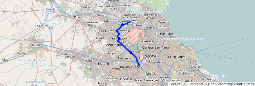 Mapa del recorrido Moron-El Talar de la línea 303 en Buenos Aires.