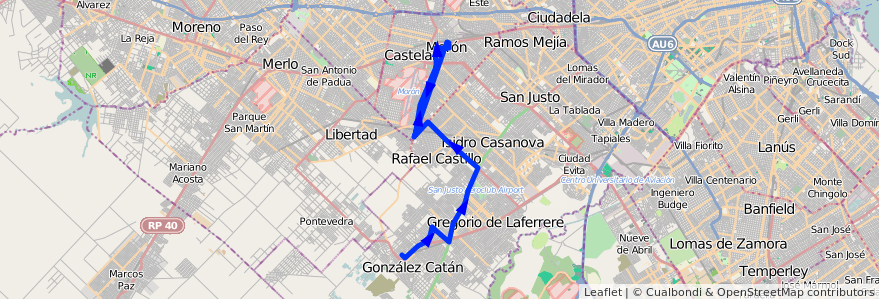 Mapa del recorrido Moron-G.Catan de la línea 236 en Buenos Aires.