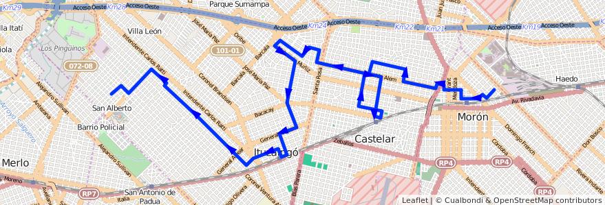 Mapa del recorrido Moron-Ituzaingo de la línea 441 en Buenos Aires.