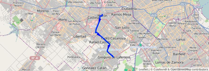 Mapa del recorrido Moron-Laferrere de la línea 236 en Buenos Aires.