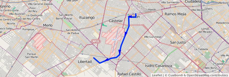 Mapa del recorrido Moron-Los Aromos de la línea 236 en Buenos Aires.
