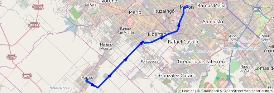 Mapa del recorrido Moron-M.Paz de la línea 236 en Buenos Aires.