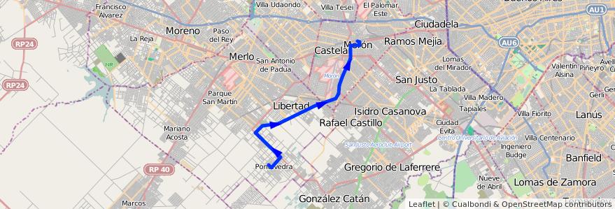 Mapa del recorrido Moron-Pontevedra de la línea 236 en Buenos Aires.