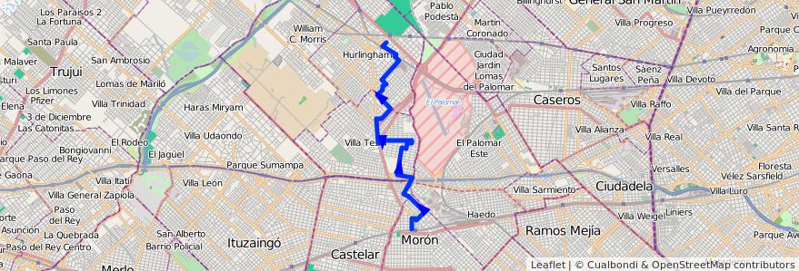 Mapa del recorrido Moron-Ruben Dario de la línea 443 en Buenos Aires.