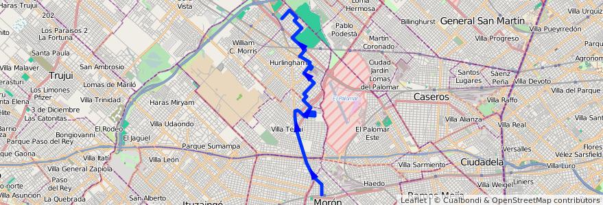 Mapa del recorrido Moron-Villa Club de la línea 443 en Partido de Hurlingham.