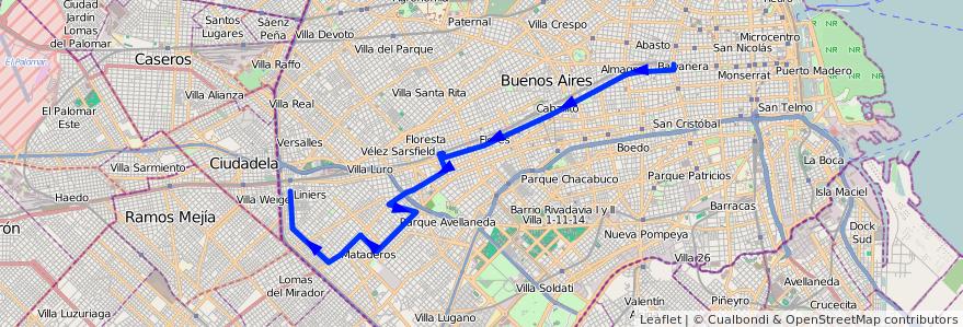 Mapa del recorrido Once-Liniers de la línea 104 en Ciudad Autónoma de Buenos Aires.