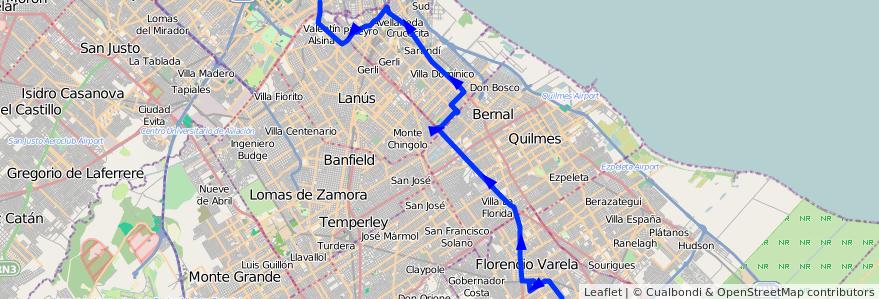 Mapa del recorrido P Pompeya-Zeballos de la línea 178 en Buenos Aires.