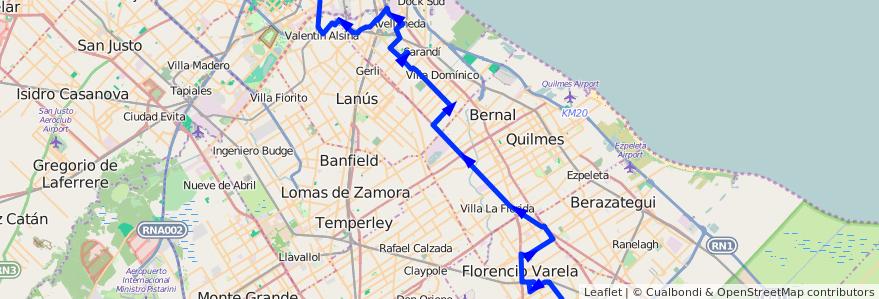 Mapa del recorrido P x C.Larralde de la línea 178 en Buenos Aires.
