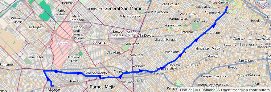 Mapa del recorrido Palermo-Moron de la línea 166 en Argentina.
