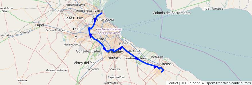Mapa del recorrido Pasco de la línea 338 (TALP) en Buenos Aires.