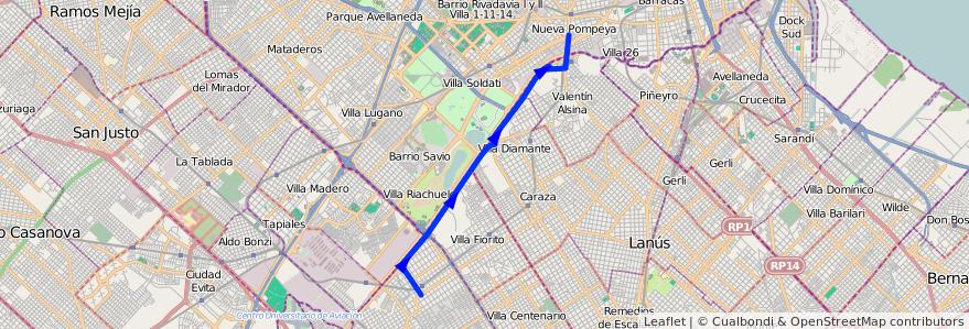 Mapa del recorrido Pompeya-Ing.Budge de la línea 32 en Buenos Aires.