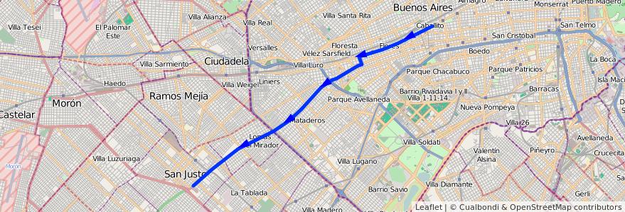 Mapa del recorrido Pra. Junta-San Justo de la línea 55 en Argentina.