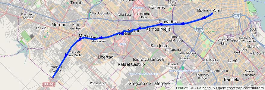 Mapa del recorrido Pra.Junta-M.Paz de la línea 136 en Argentina.