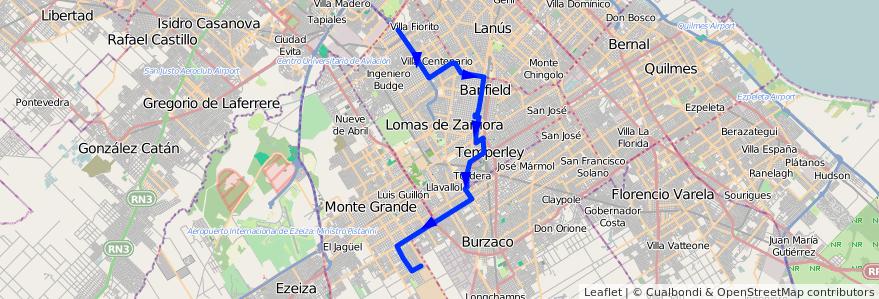 Mapa del recorrido Pte.La Noria-Mte.Gran de la línea 318 en Buenos Aires.