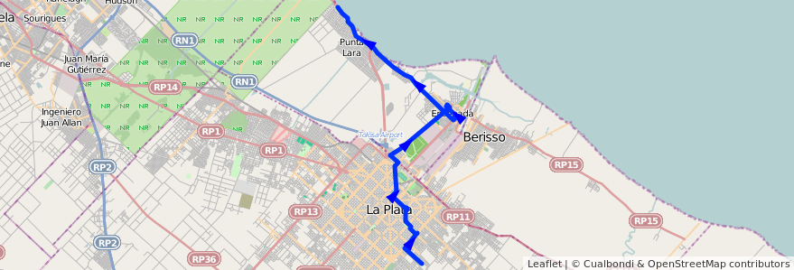 Mapa del recorrido Punta Lara de la línea 275 en Buenos Aires.